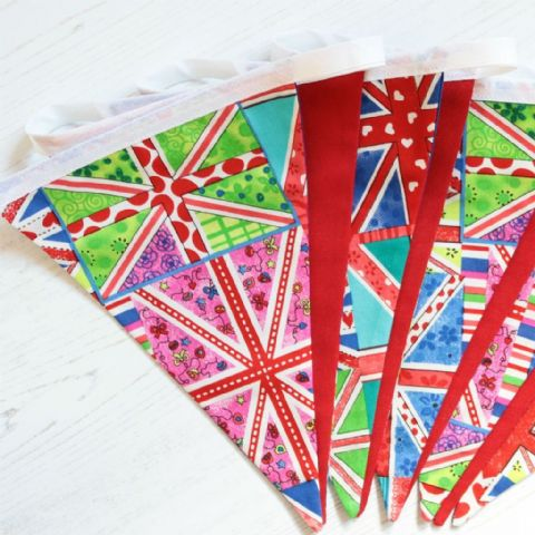 Contemporary Union Jacks - 9 pennant cotton bunting (Price inc P&P)